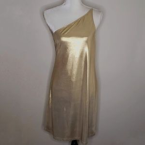 NWT! Free People, Motel Gold One Shoulder Dress